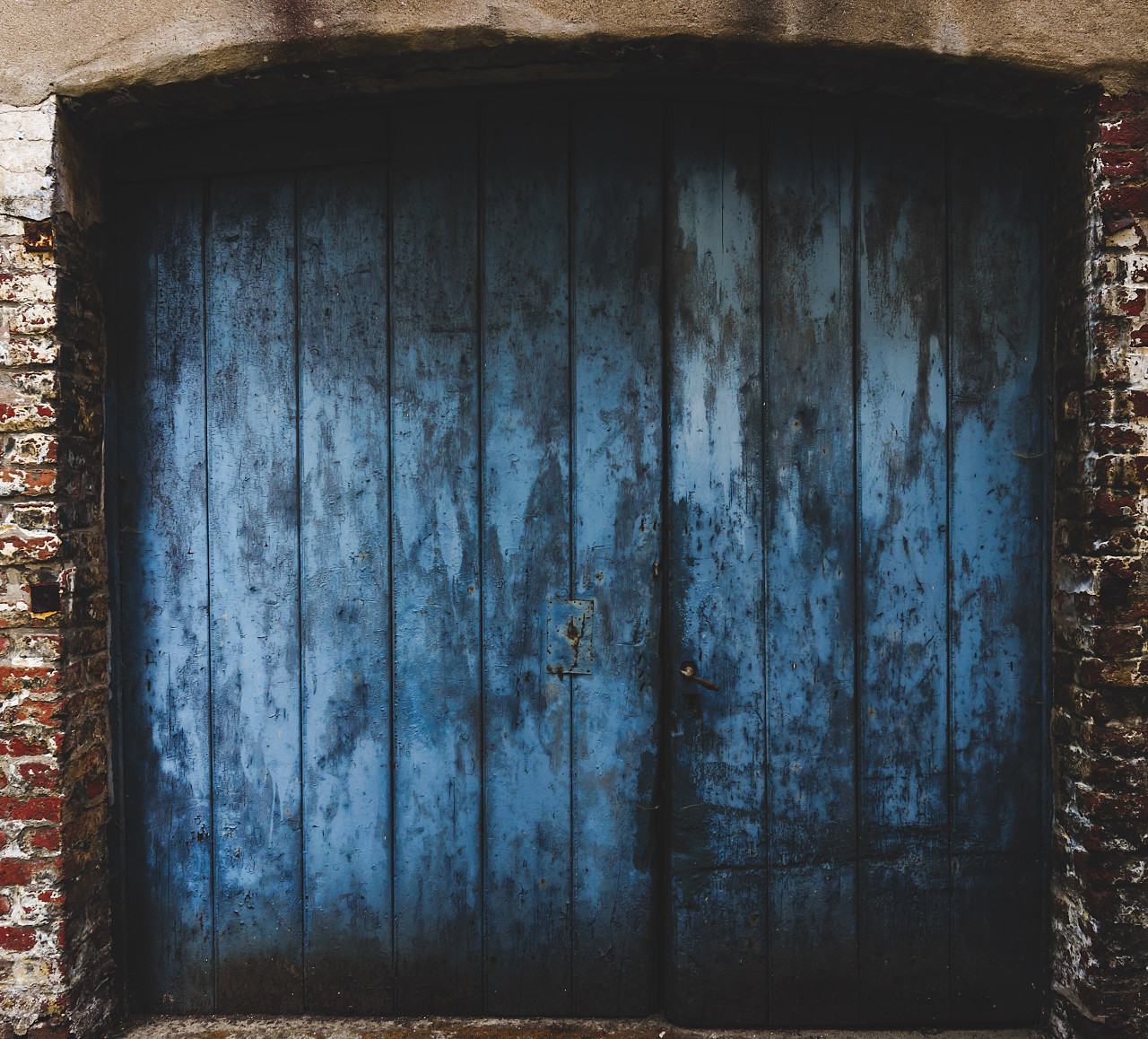 old weathered blue gate