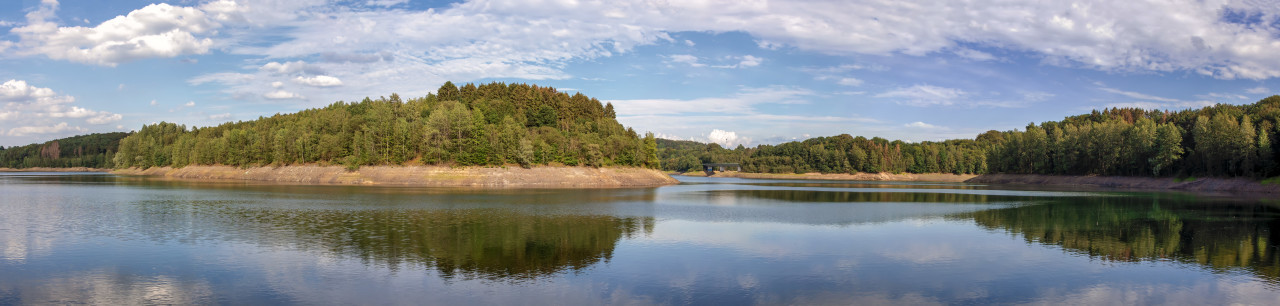 Wuppertalsperre - Reservoir lake landscape in Germany nature reserve panorama