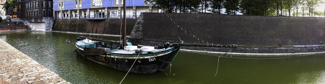 ship in old harbor dusseldorf