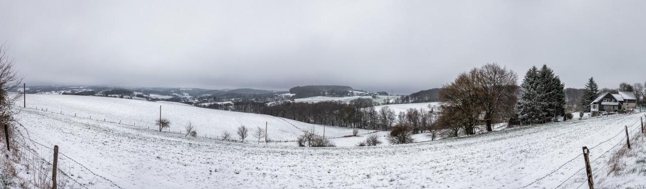 Rural Snow Landscape in April