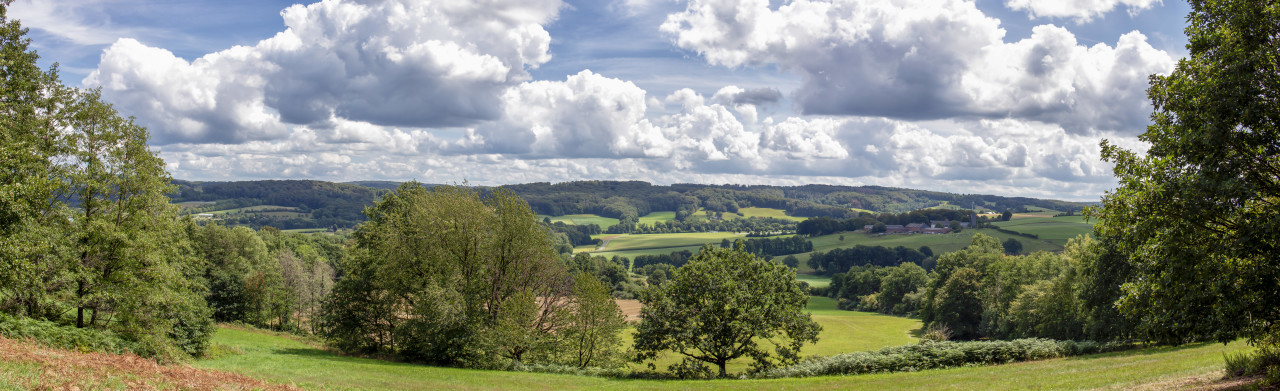 panorama of an german rural landscape with beautiful clouds in summer