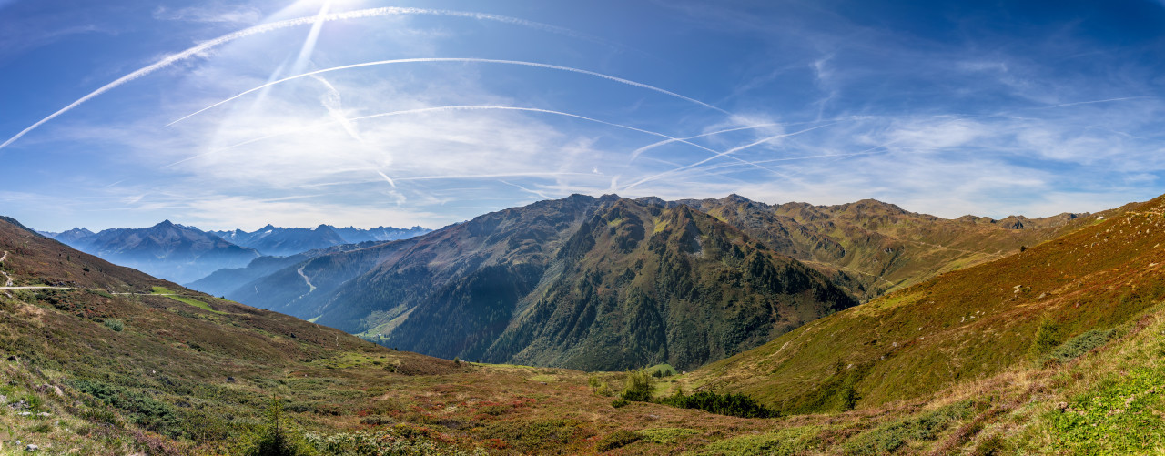 Panoramic view from the mountain Kleiner Gilfert in the Zillertal of Austria