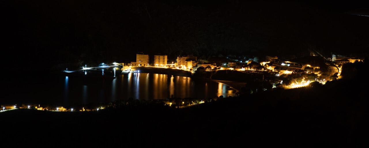 Portbou at night seascape panorama