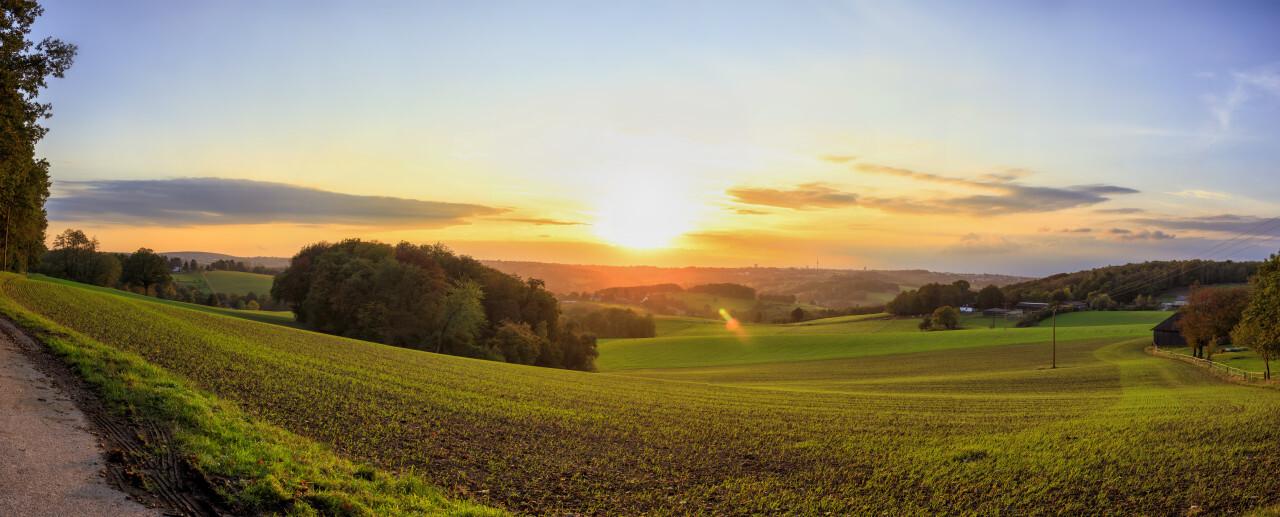 Rural Sunset over hilly fields Panorama - Velbert Langenberg