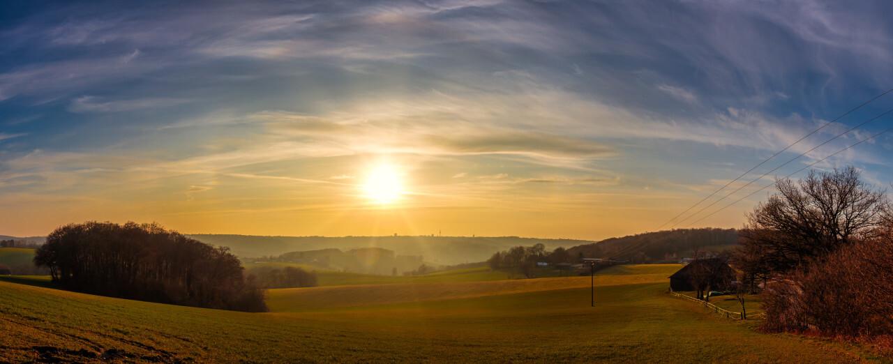 Rural landscape scenery at sunset