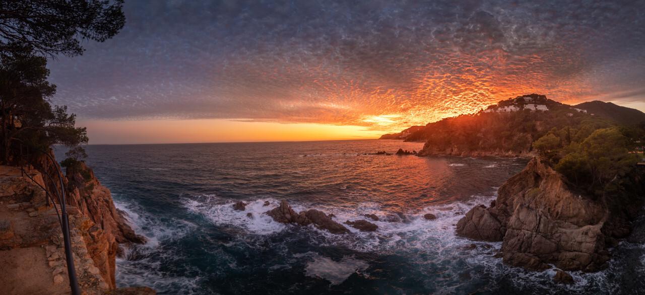 Impressive sunset over Canyet de Mar