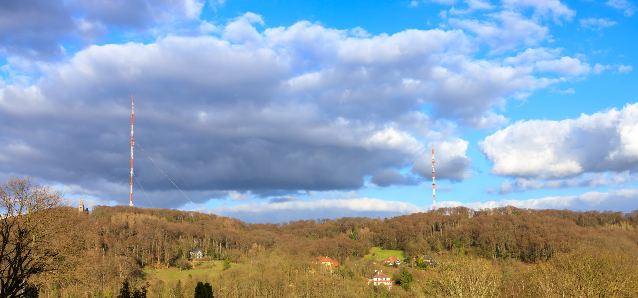 Langenberg panorama with the two transmission towers and the Bismarck tower