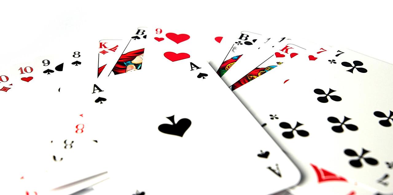 Poker cards isolated on white background