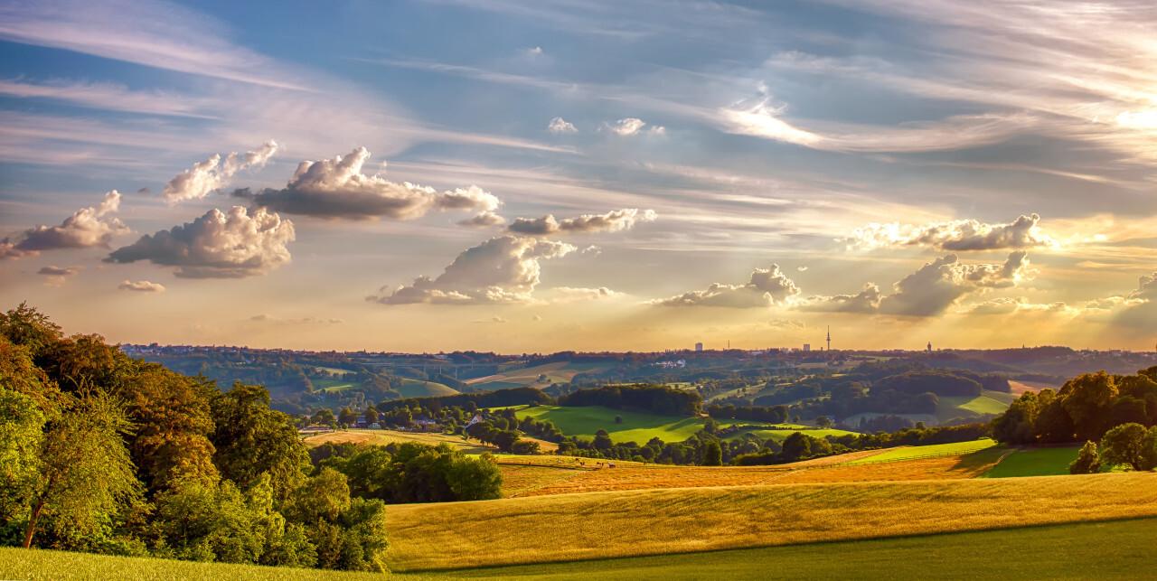 Velbert Langenberg Fields during the golden hour - Rural Landscape in Germany
