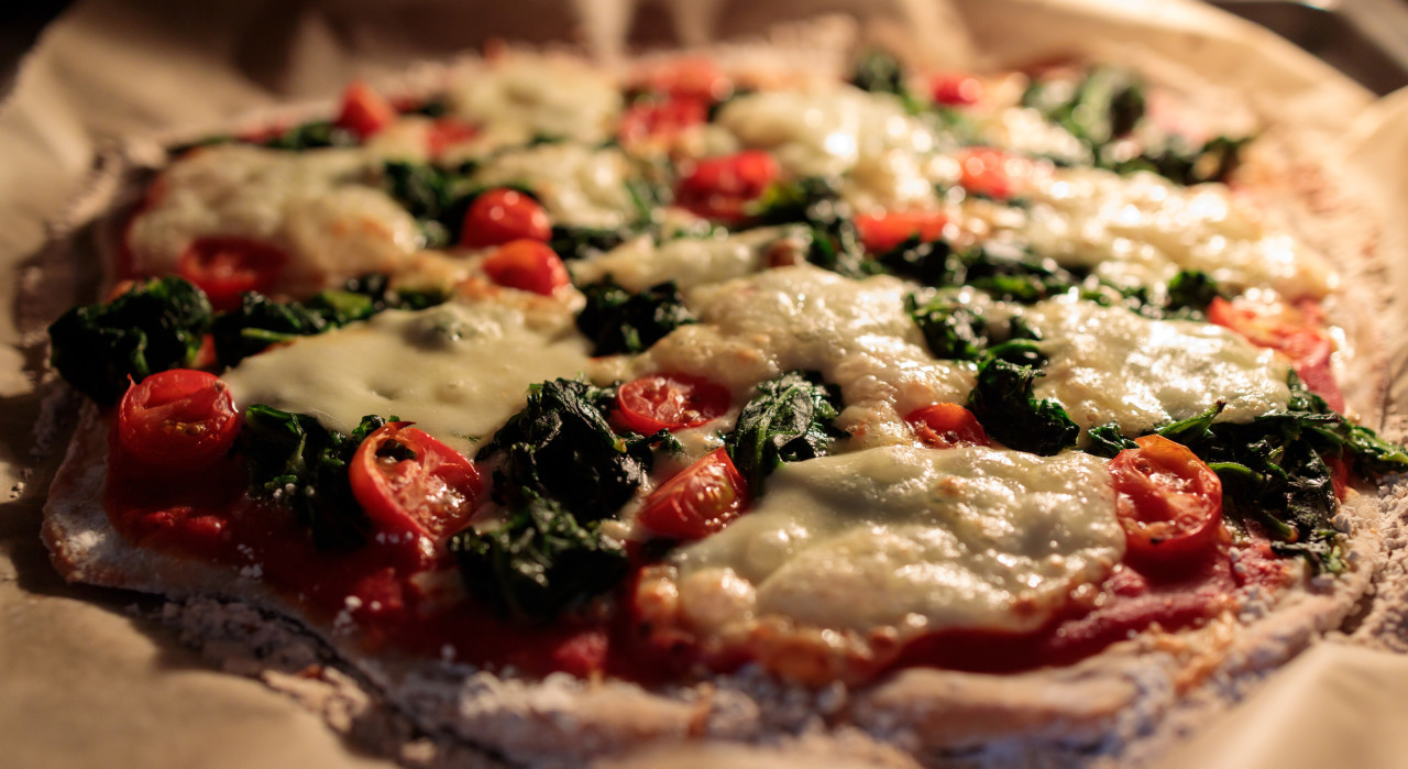 vegetarian pizza in the oven