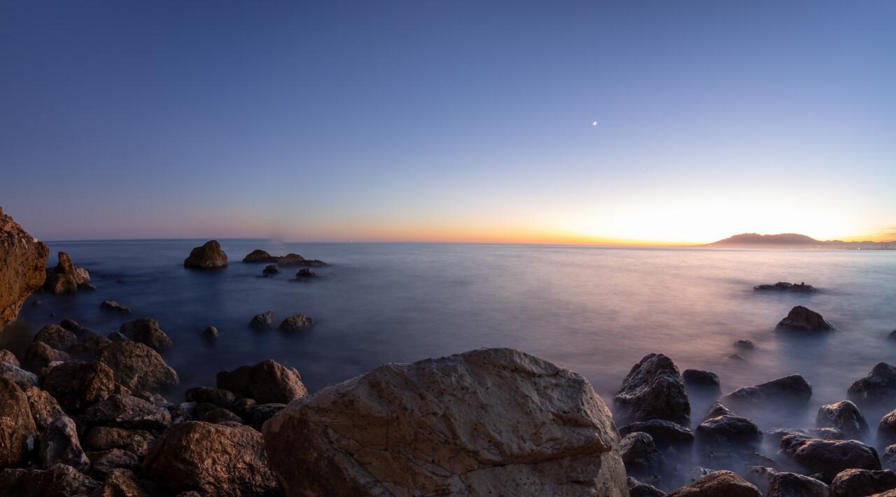 Seascape Sunset in Malaga Andalucia Spain