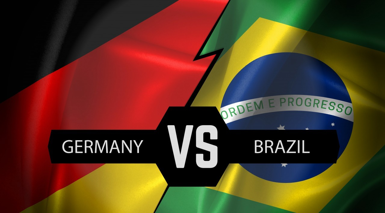Federal Republic of Germany vs Federative Republic of Brazil, symbol of two national flags from textile