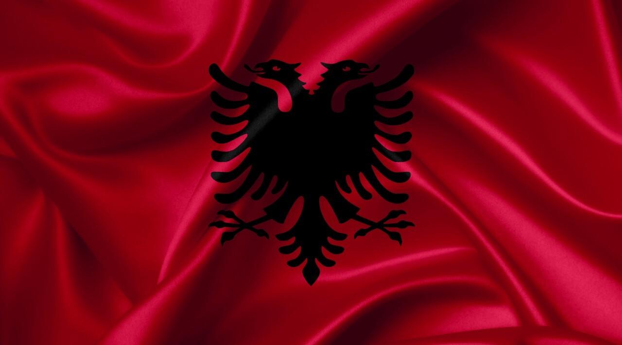 albanian flag country symbol illustration
