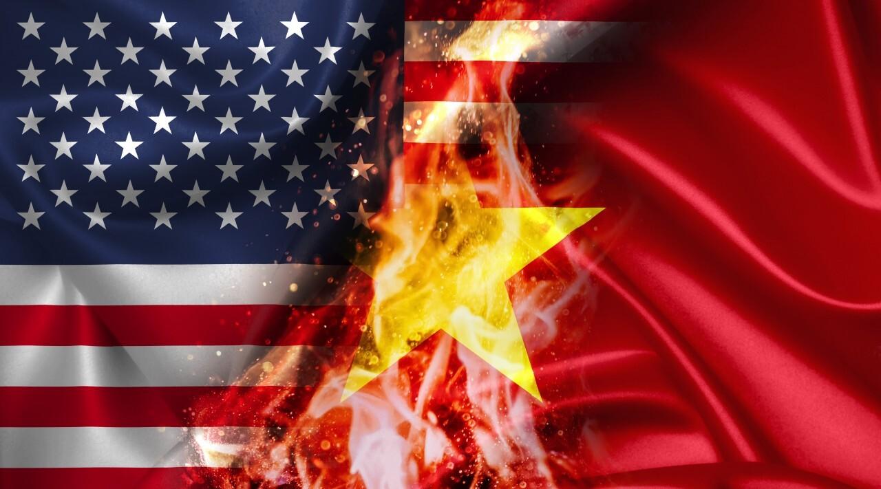 USA vs Vietnam burning Flag - conflict war comparison on fire illustration