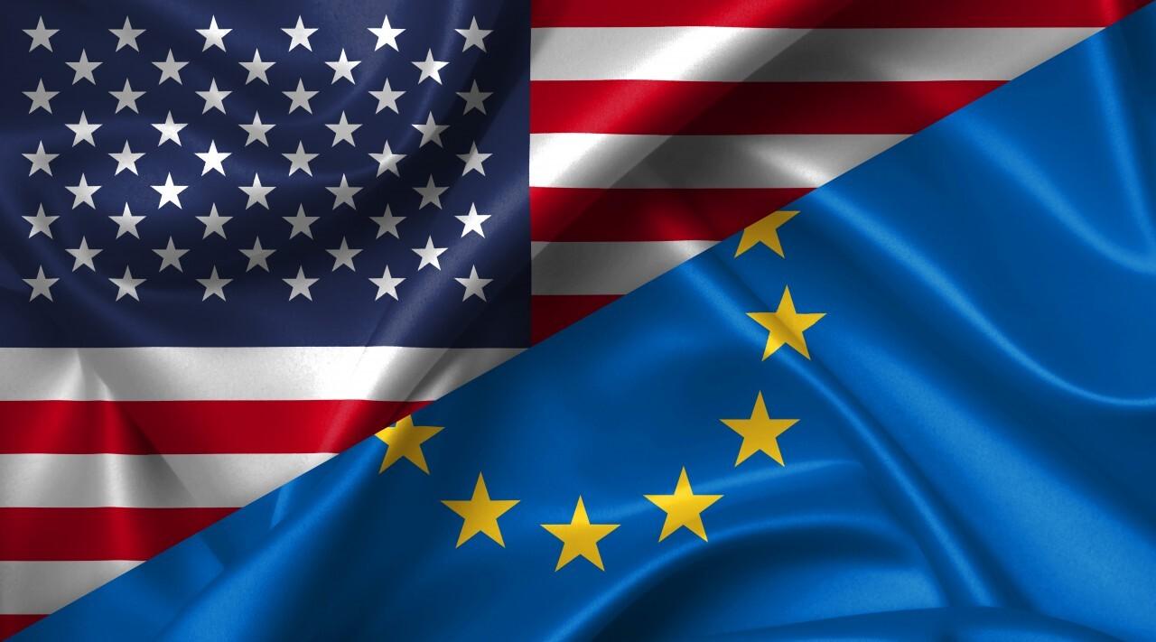 United States USA vs Europe flags comparison concept Illustration