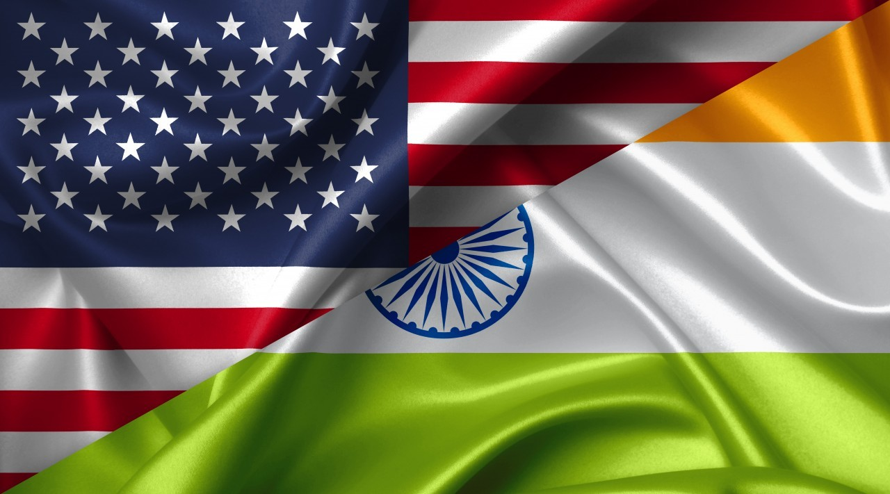 United States USA vs India flags comparison concept Illustration