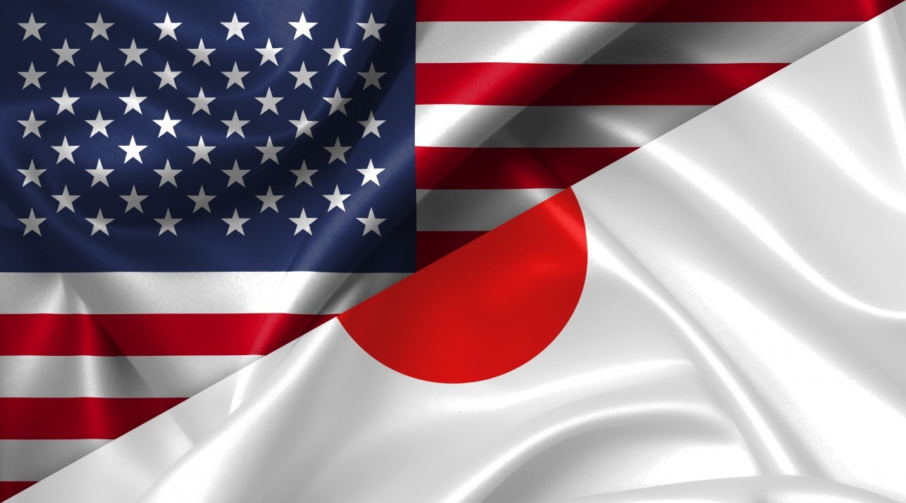 United States USA vs Japan flags comparison concept Illustration
