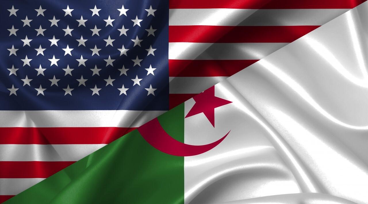 United States USA vs Algeria flags comparison concept Illustration