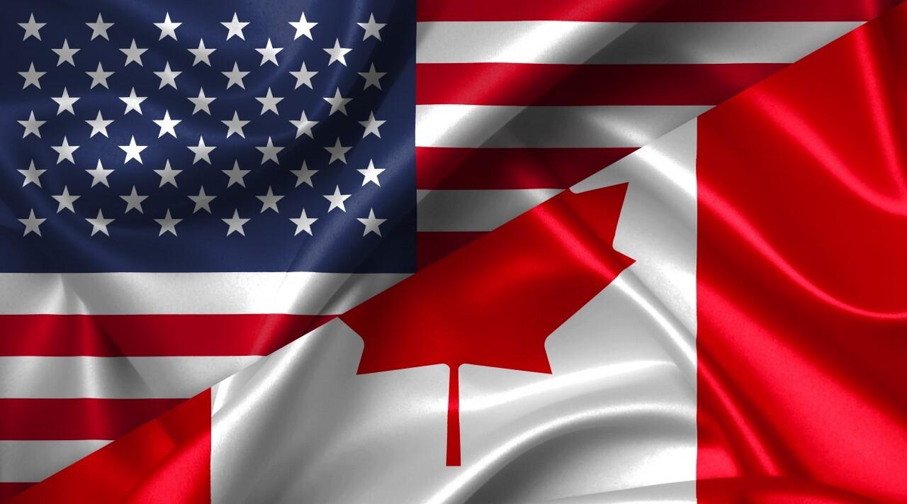 United States USA vs Canada flags comparison concept Illustration