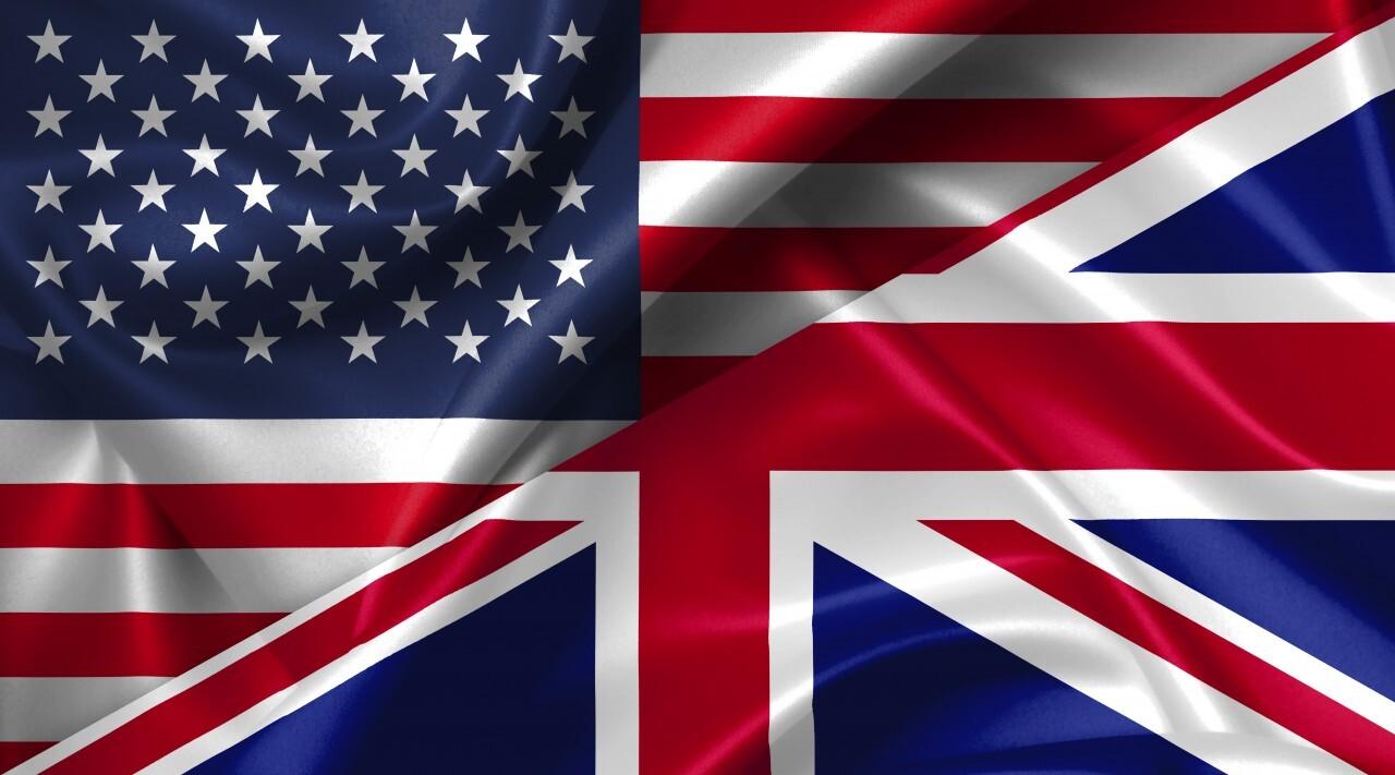 United States USA vs Great Britain England flags comparison concept Illustration