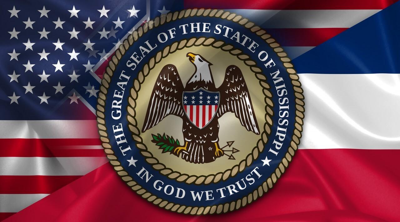 United States USA vs Mississippi flags comparison concept Illustration