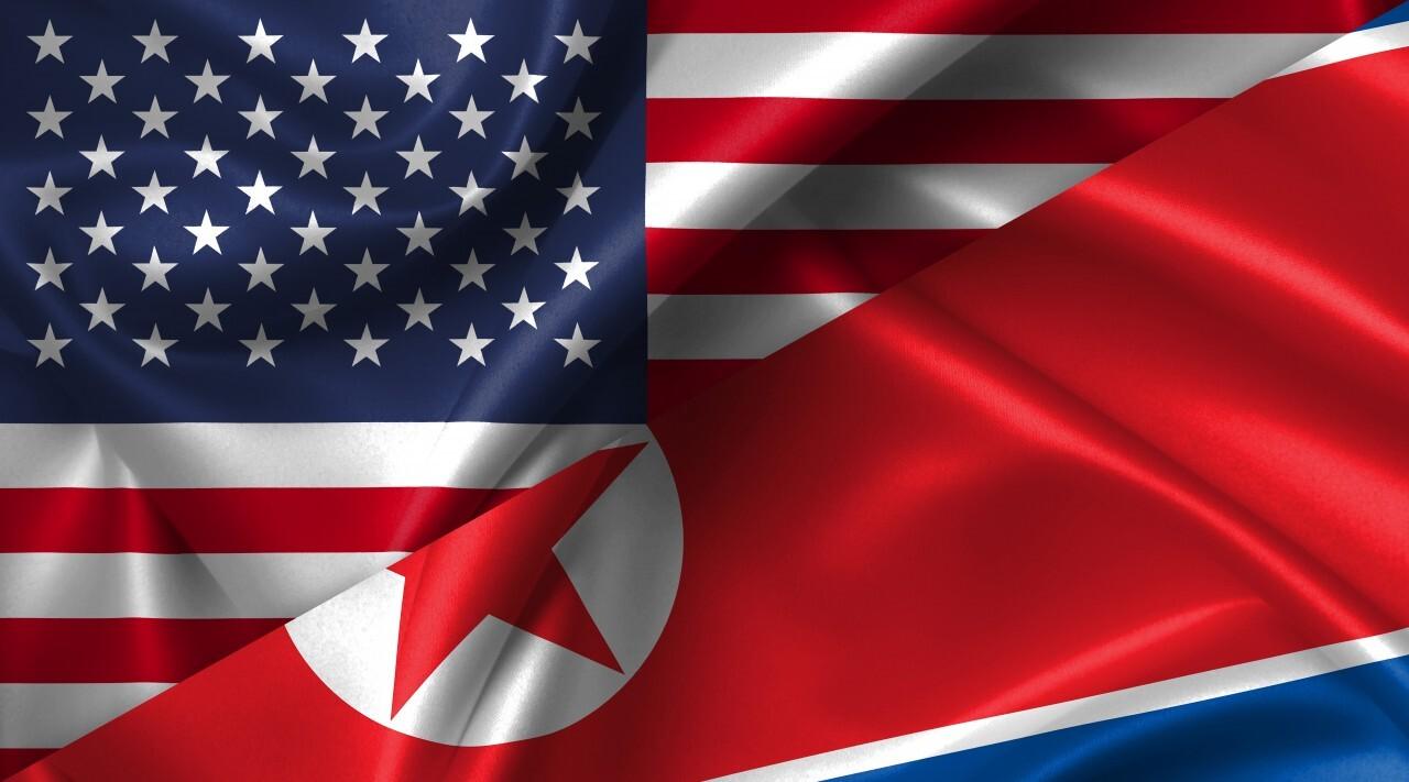 United States USA vs North Korea flags comparison concept Illustration