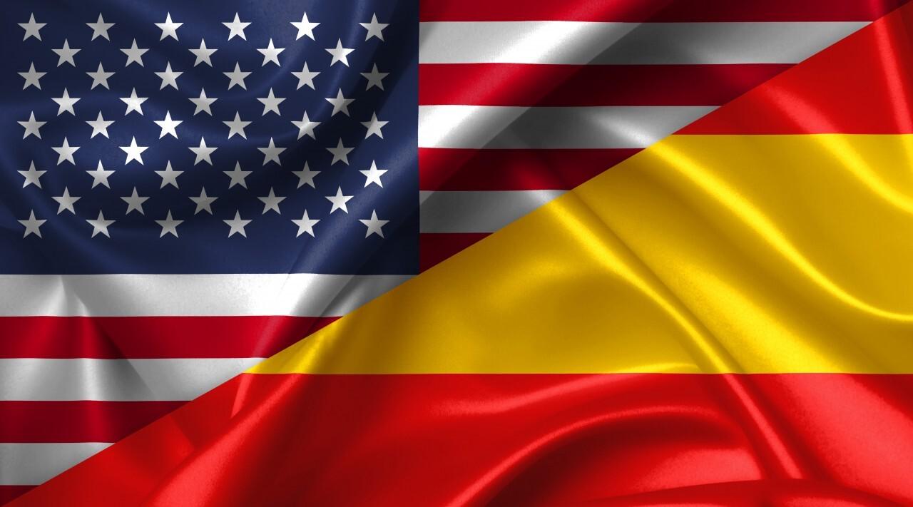 United States USA vs Spain flags comparison concept Illustration