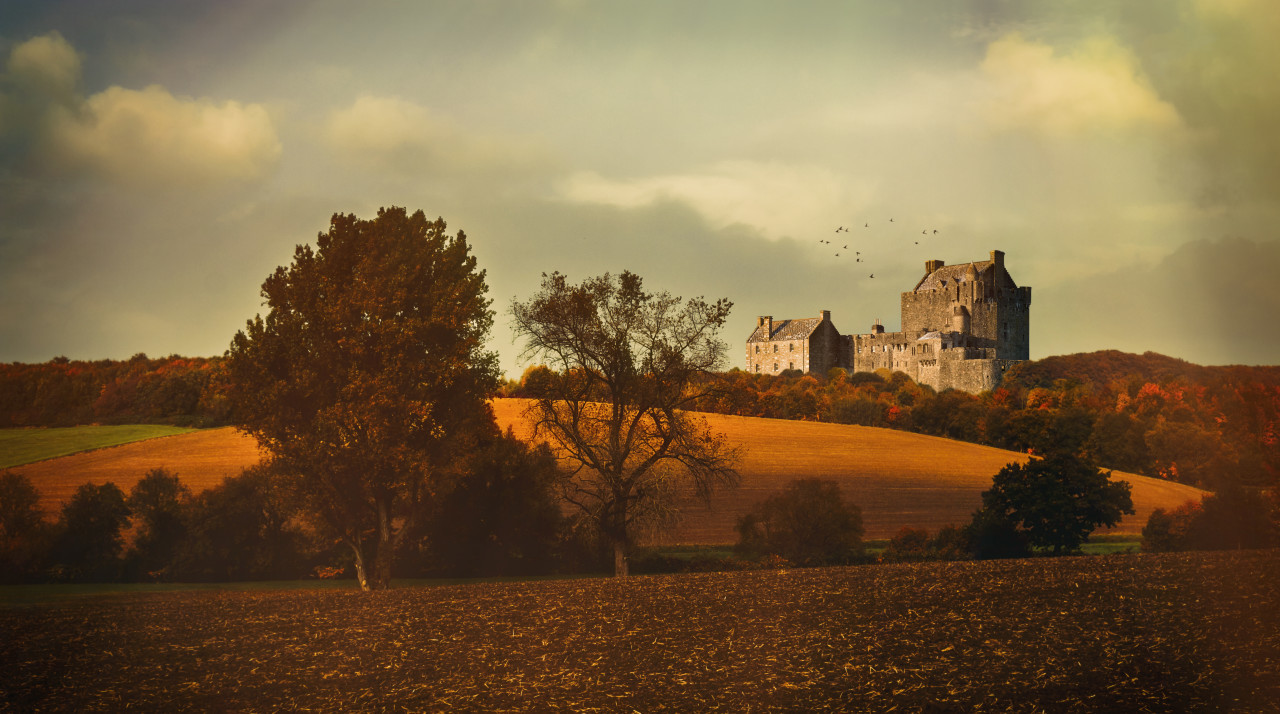 Landscape with a castle in autumn