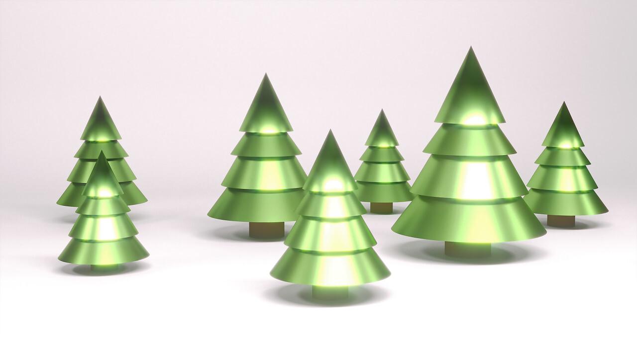 3d christmas trees