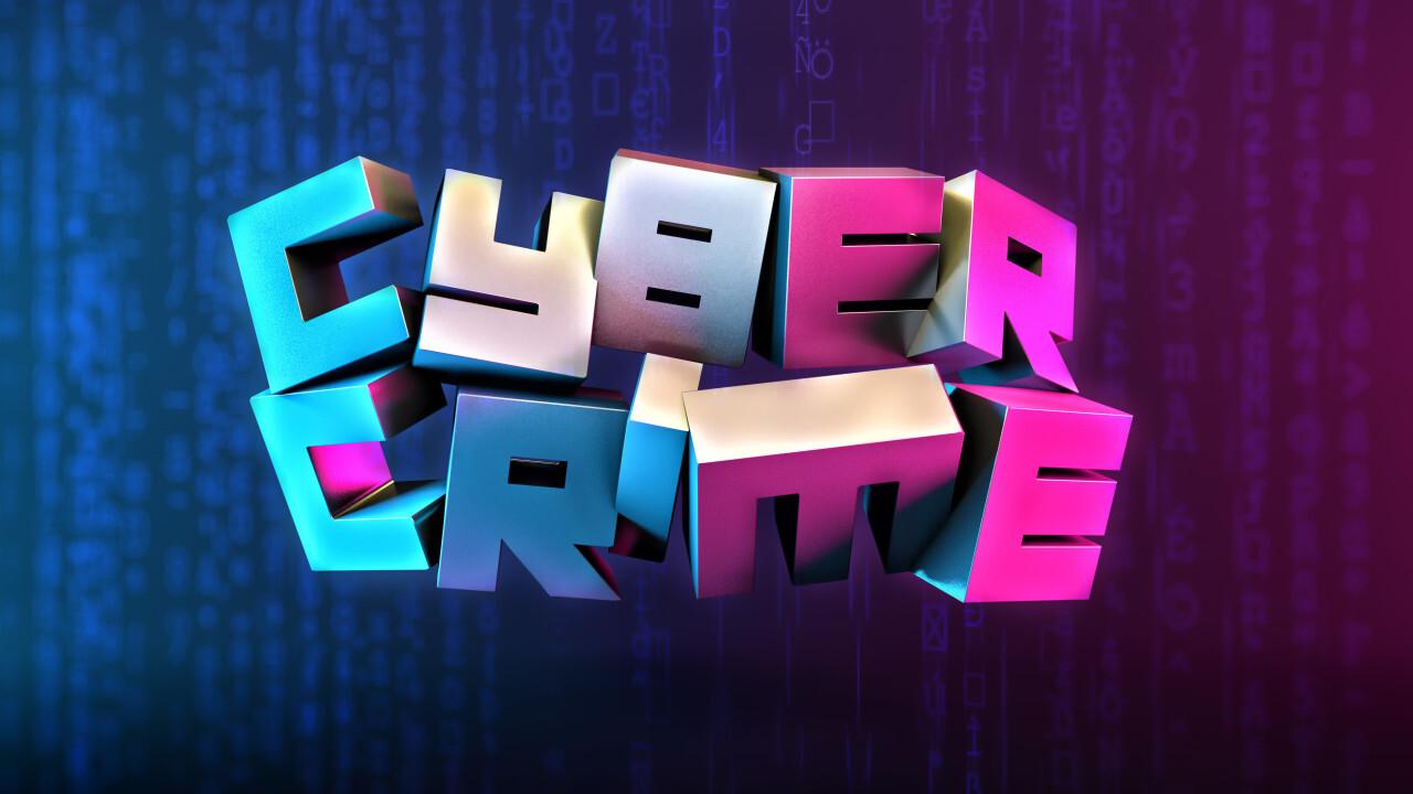 Cyber Crime Hacker technology text on dark blue background rendering punk Poster Design 3D illustration