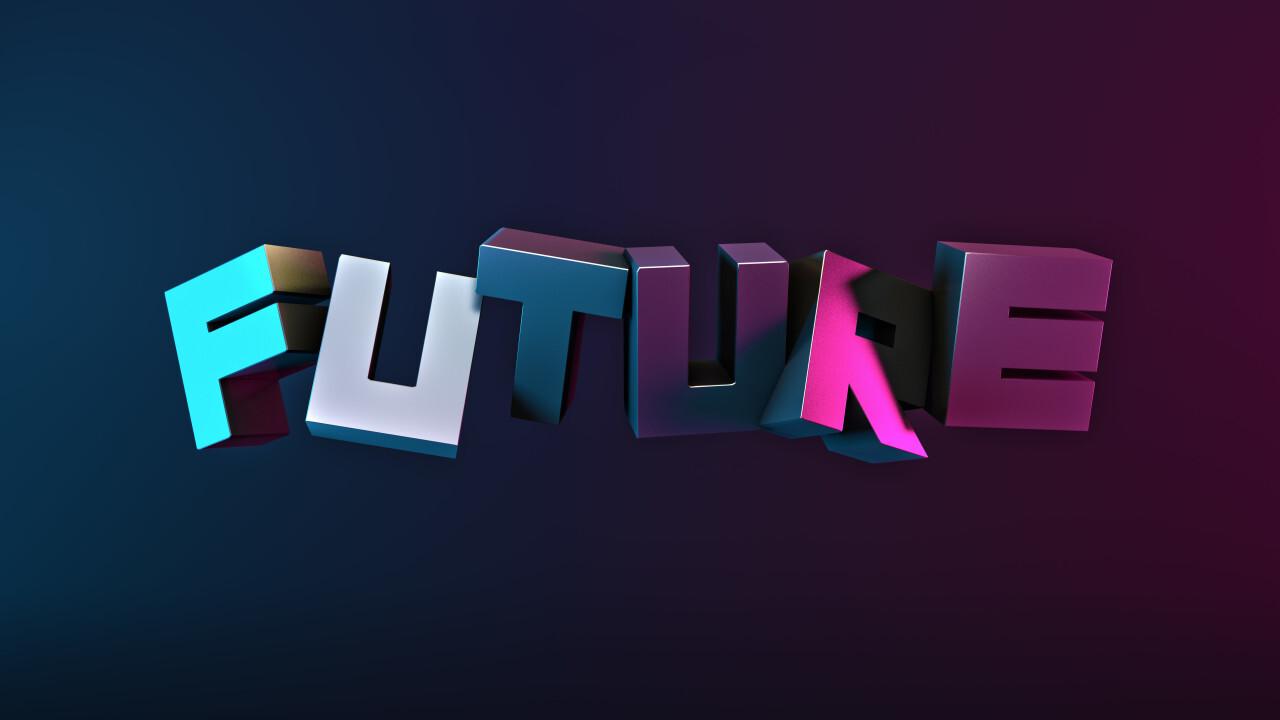 Future technology text on dark blue background cyber rendering punk Poster Design 3D illustration