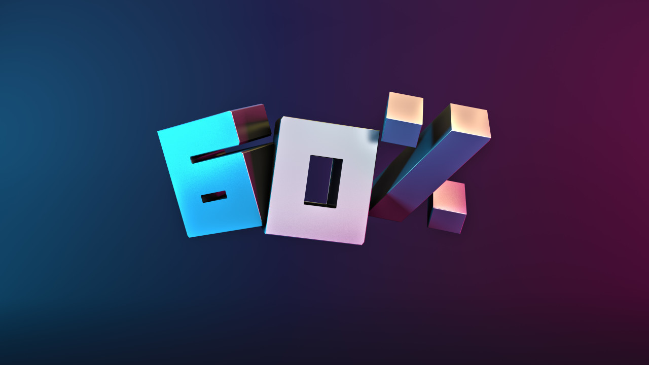 60% OFF Black Friday or Cyber Monday Sale Promotional Poster Design 3D illustration