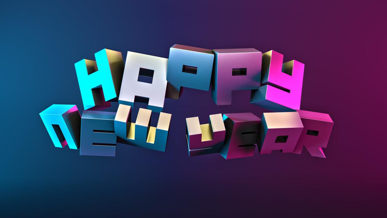 happy new year cyber futuristic punk 3D illustration