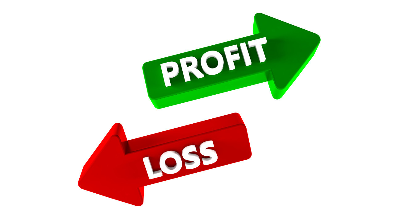 Profit and Loss Arrow isolated on white background 3D Illustration