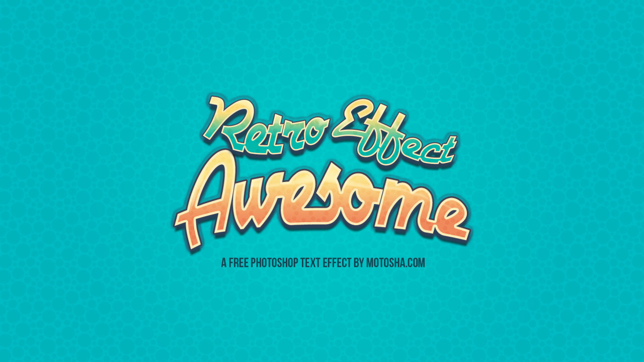 Free PSD Retro Awesome Text Effect
