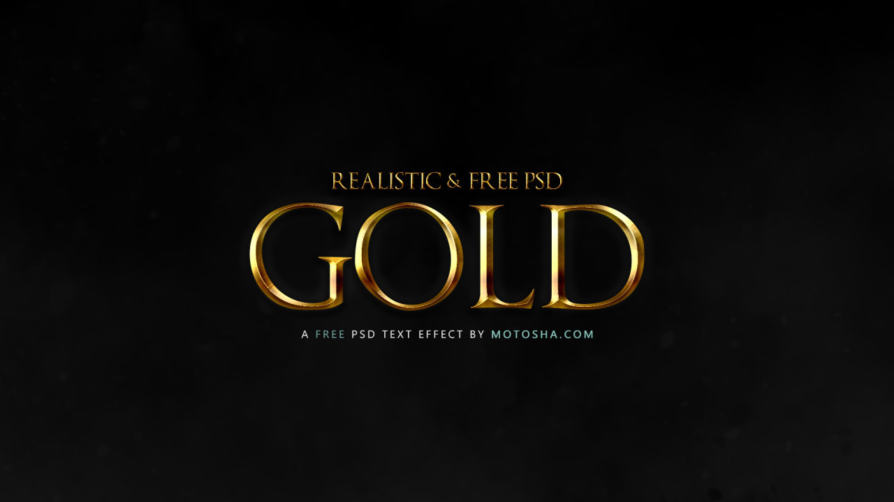 Free Realistic Gold Text Effect for Photoshop