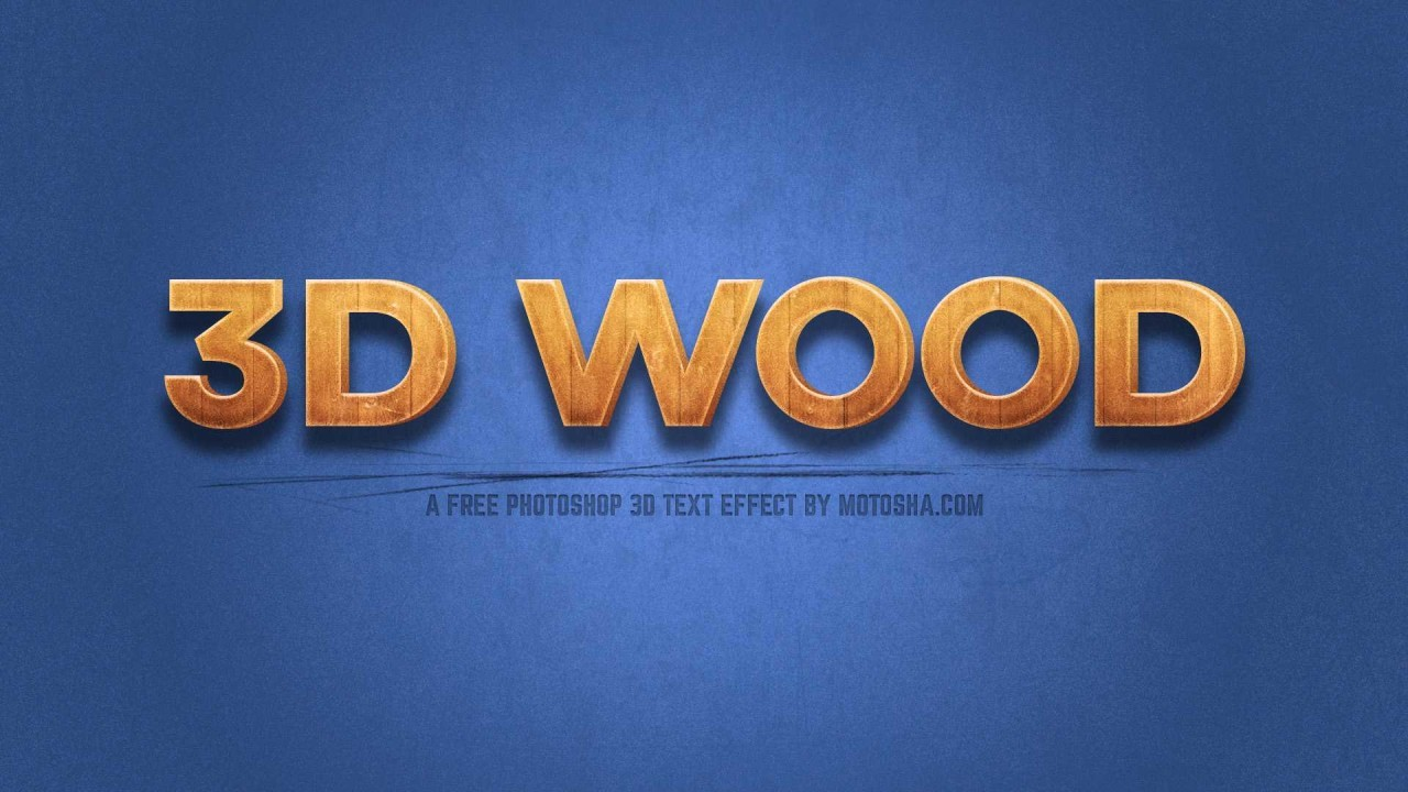 Free 3D Wood Text Effect for Photoshop (PSD)
