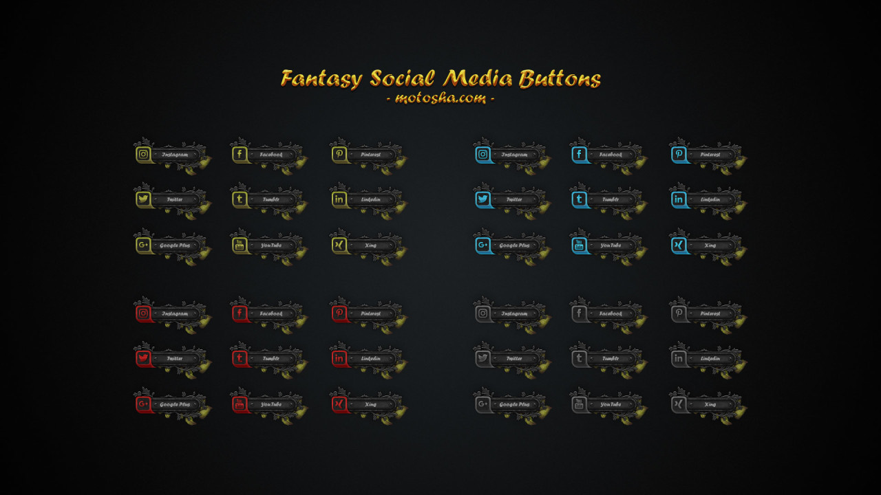 Free Fantasy Social Media Buttons - Photoshop PSD