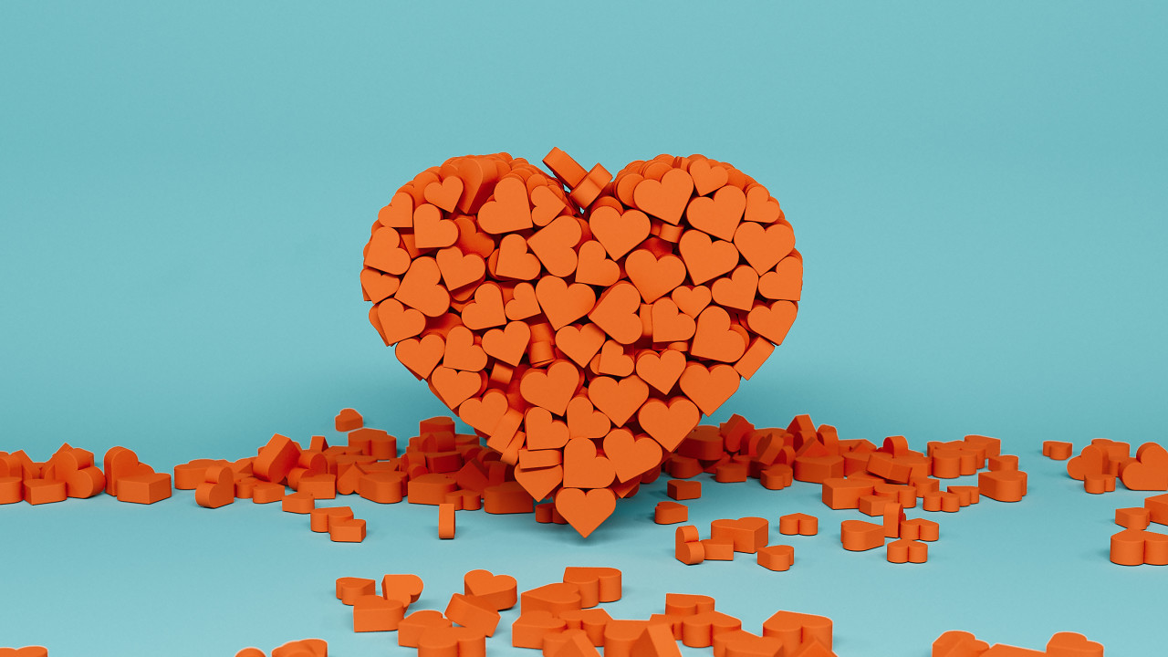 red hearts blue background