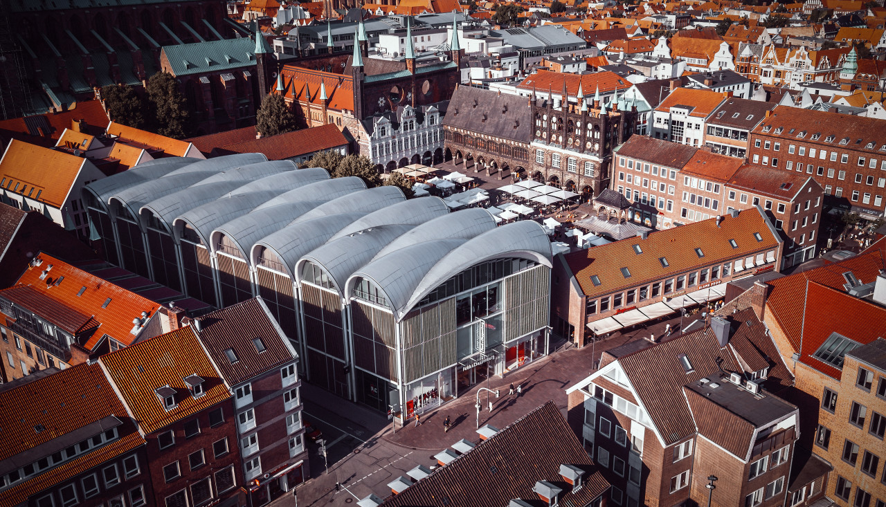 lubeck town hall from above
