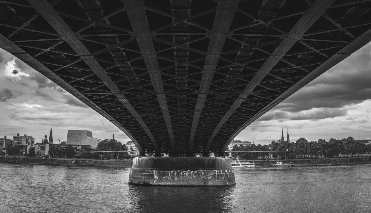 Under a Bridge in Bonn Black and White