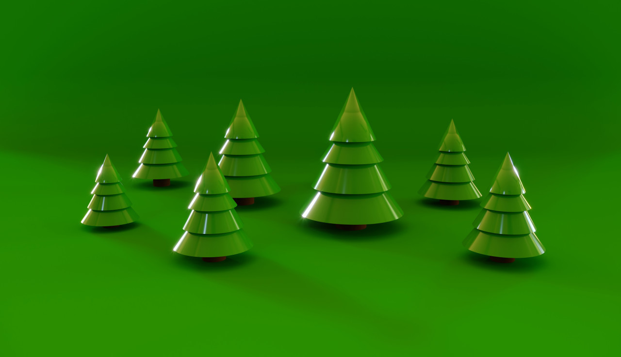 green christmas firs in 3D