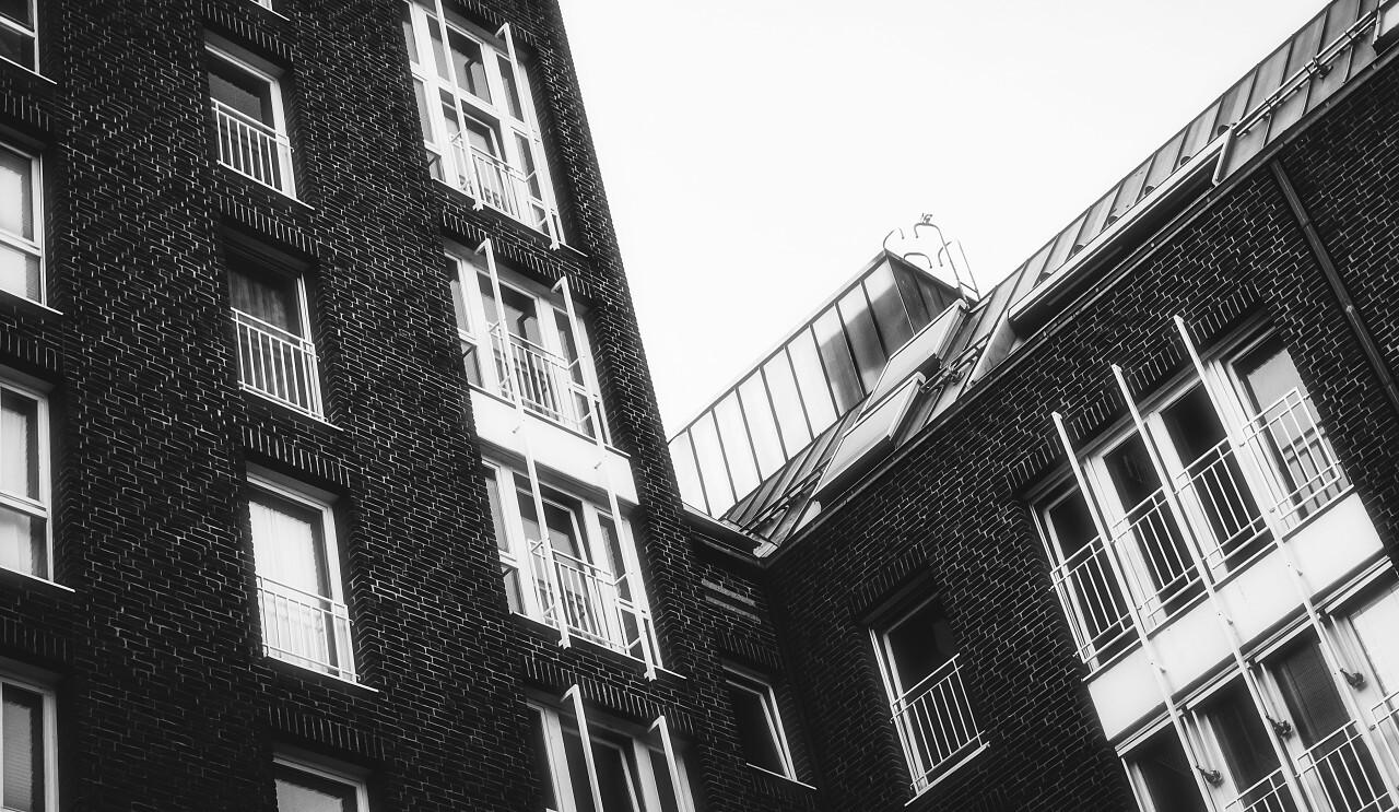 black and white brick house