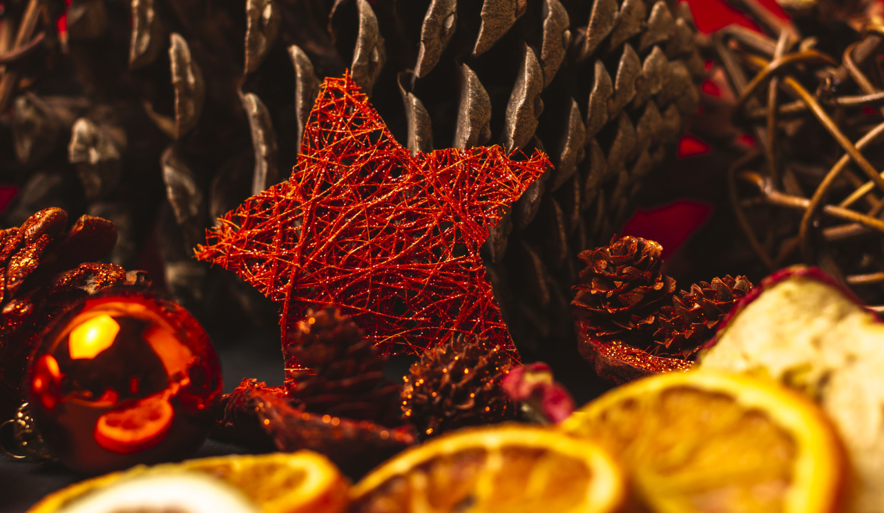 christmas decoration red star, balls and dryed fruits