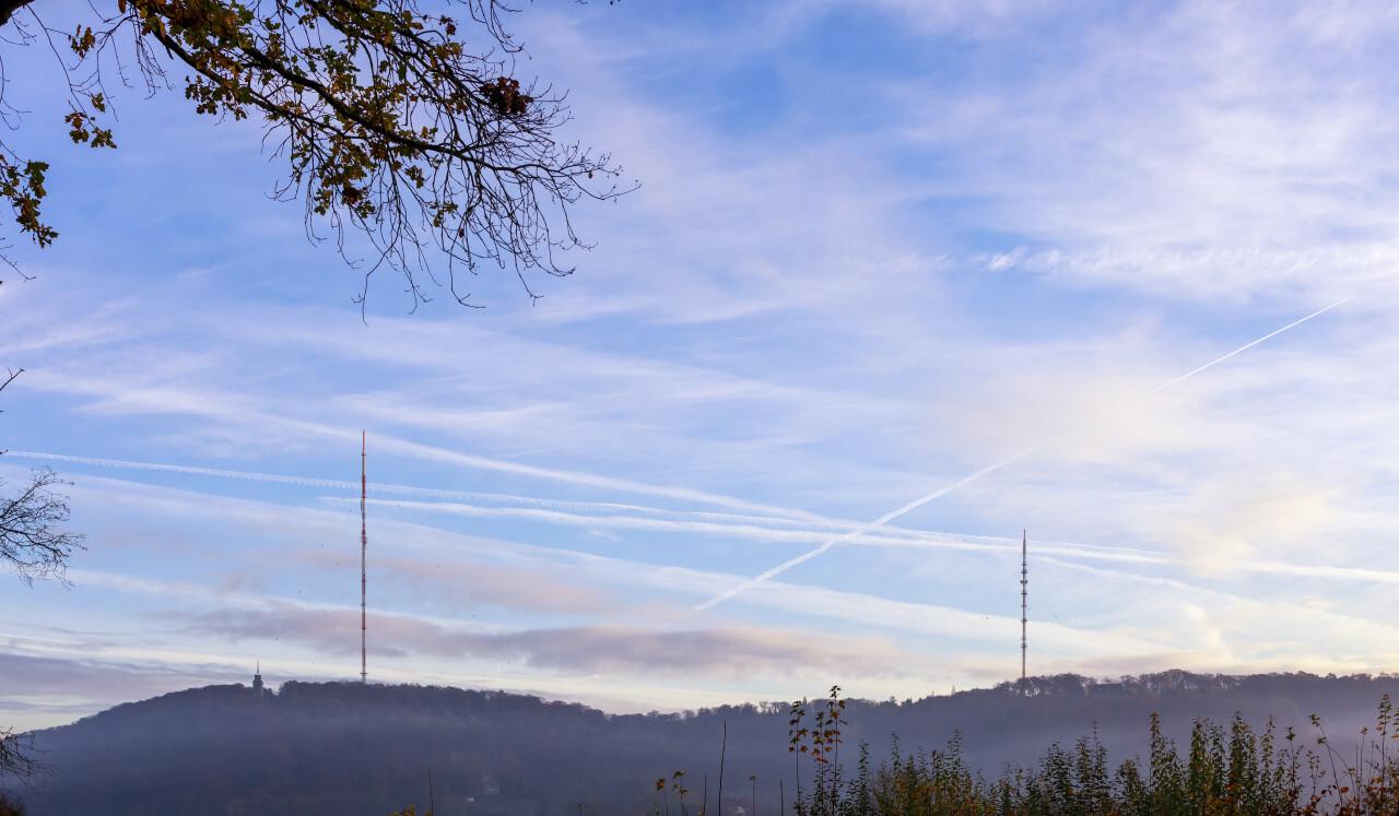Langenberg shrouded in fog in the morning.