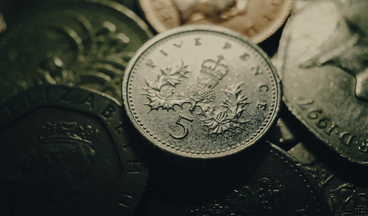 British pound money coin background greenish