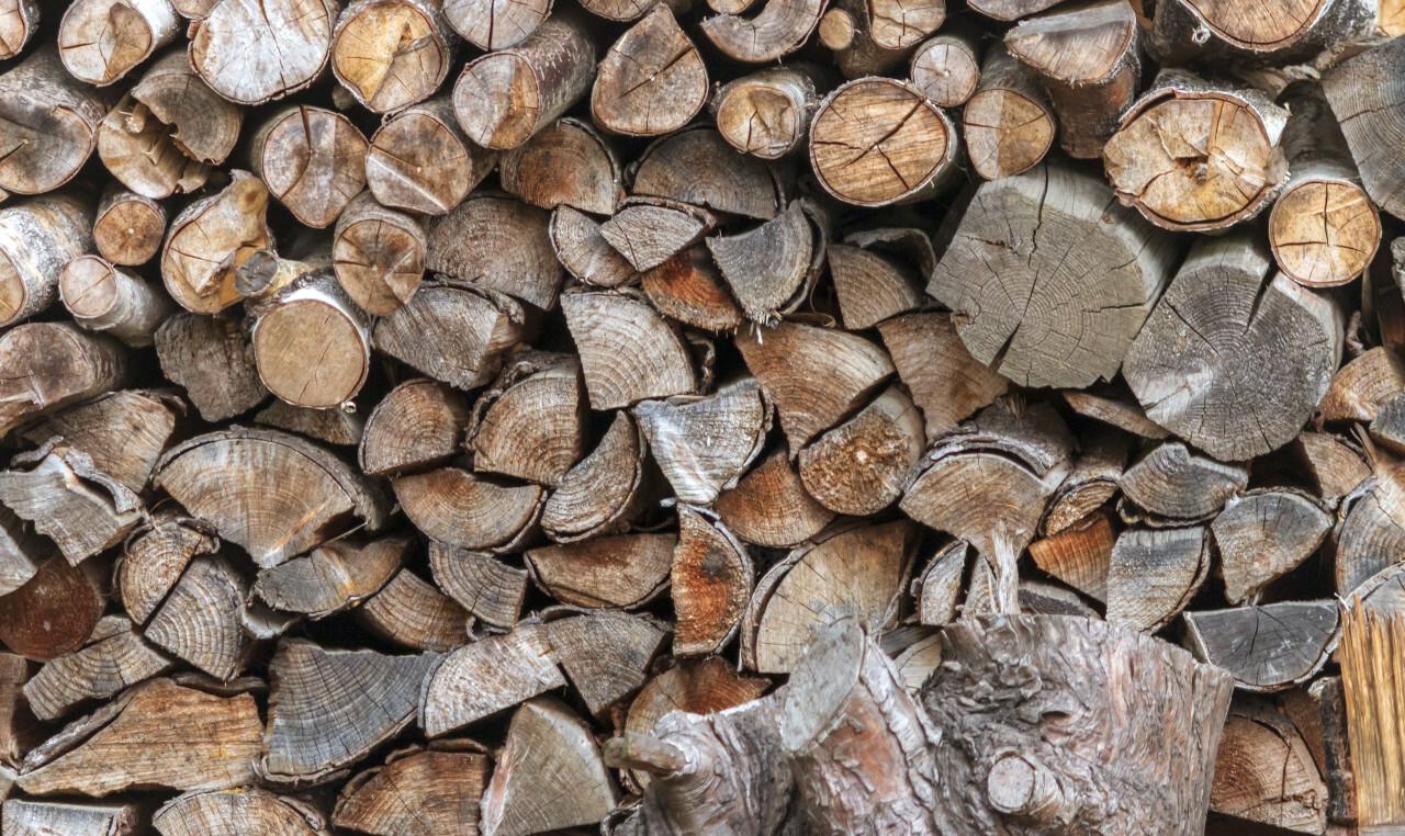 firewood pile brown
