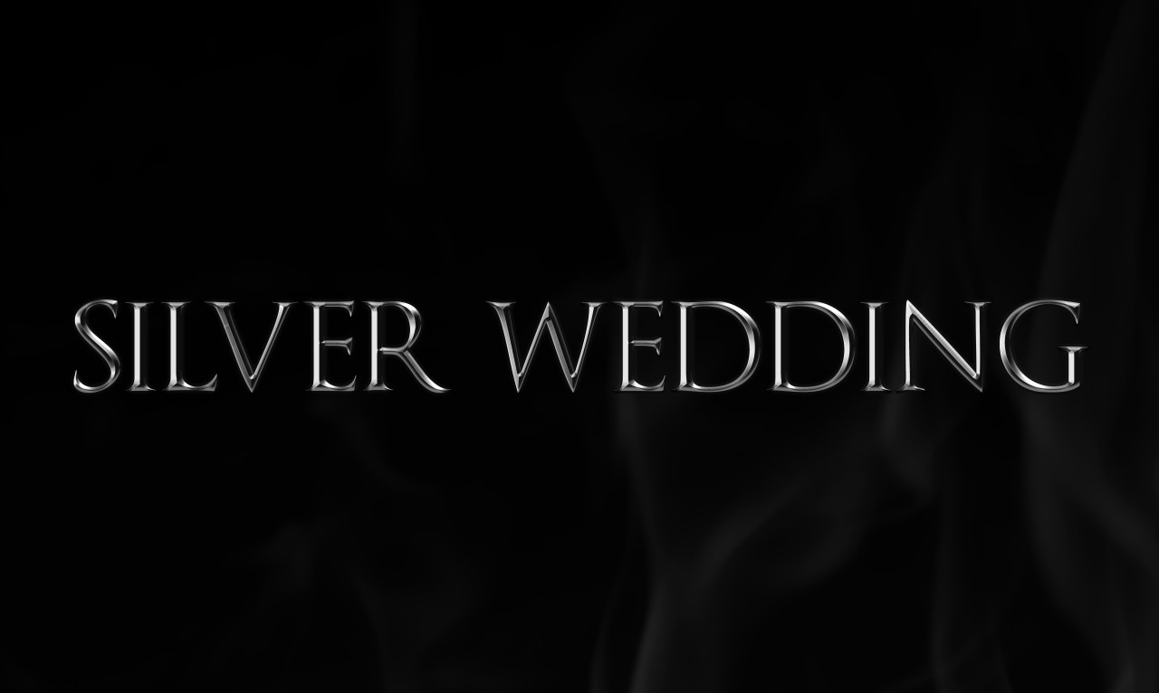 silver wedding as a word on black background