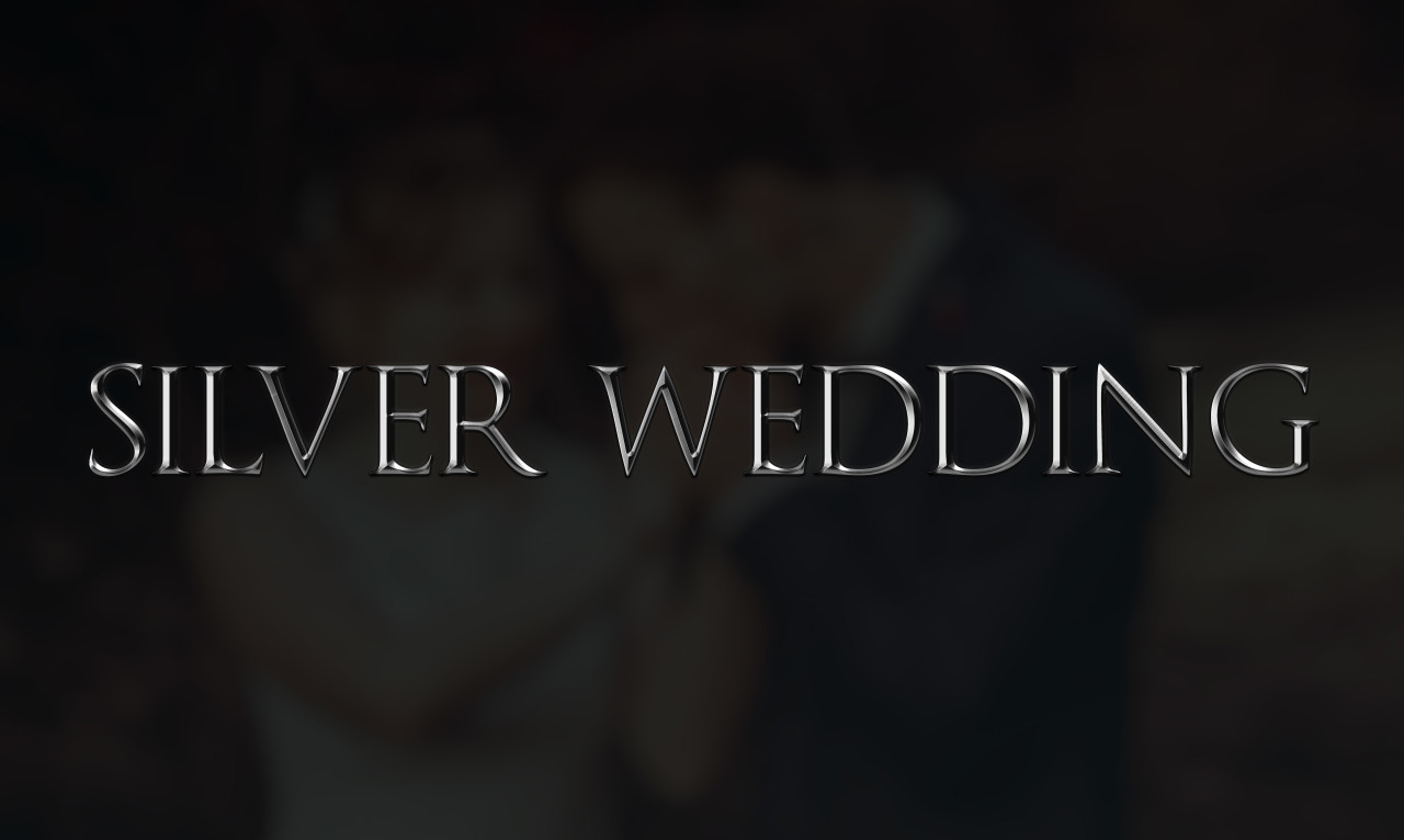 silver wedding as a word on dark background