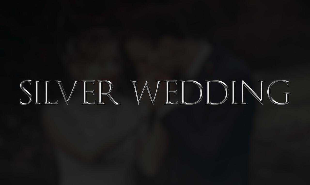 silver wedding as a word on dark background